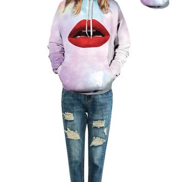Pink Skateboarding Hoodies Psychedelic Star Hoody Sweatshirt Autumn Full Sleeves Sexy Big Red Lips Jumper Pullover Ladies Coat