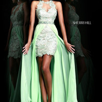 Sherri Hill 9713 - Green Lace Dress
