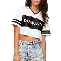 Diamond Supply Co Cropped Jersey T-Shirt - Womens Tee - Black -