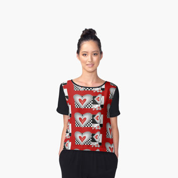 'Hearts and Squares Modern Fractal Design' Chiffontop für Frauen by gabiwArt
