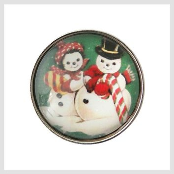 Christmas Snowman Couple 20 mm 3/4""