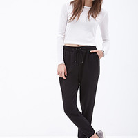 FOREVER 21 Crepe Woven Joggers Black
