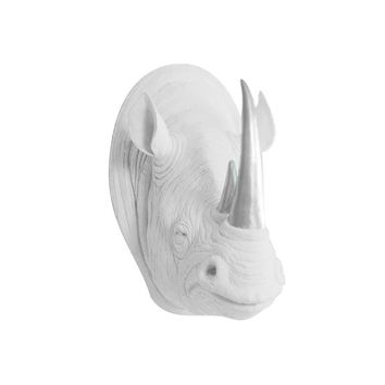 The Serengeti | Large Rhino Head | Faux Taxidermy | White + Silver Horns Resin