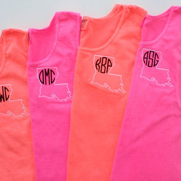 State Tank Top Comfort Colors Beach Wear Swim Suit Cover Sorority Rush Custom Embroidery
