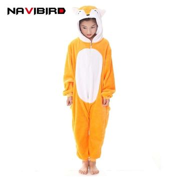 New Cosplay Kids Anime Fox Cosplay Costume Girls Brown Zipper Onesuits Wnter Pajamas Sleepwear Jumpsuit Children Unicorn Kigurumi