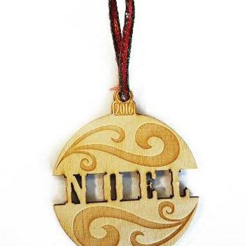 Noel Bulb Bauble Laser Engraved Wooden Christmas Tree Ornament Gift Seasonal Decoration