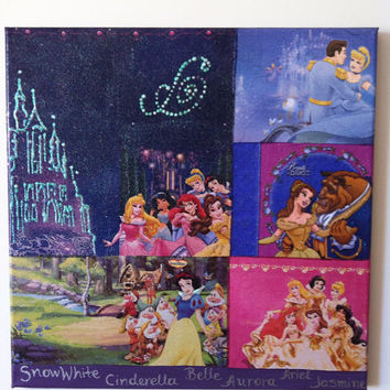 Disney Princesses Canvas Glitter Painting by litsakiv on Etsy