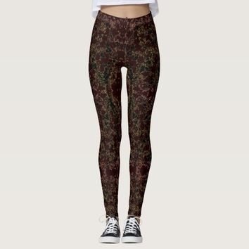 Dark Brown Abstract Pattern Leggings