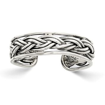 Antiqued Double Braided Toe Ring in Sterling Silver