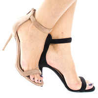 Swagger02 by Sully's, Classic High Heel Strappy Zipper Ankle Strap Sandal, Women Shoes