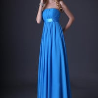 Blue Strapless Ruched Lace Up Flounce Evening Dress