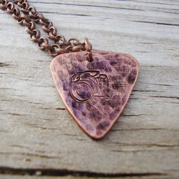 Camera hammered hand stamped copper guitar pick stamped with a camera