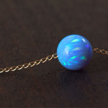 Opal necklace, Opal jewelry, large opal ball necklace, opal gold necklace, 14K gold filled dot necklace, opal bead necklace
