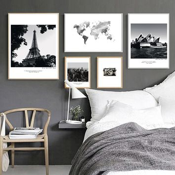 Modern City Landscape Travel Canvas Paintings Nordic Poster Print Black and White Wall Art Picture Living Room Home Office Decor