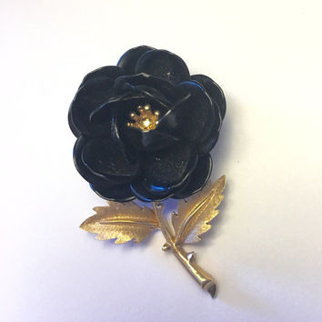 Black Rose Brooch Crown Trifari Vintage Flower Pin