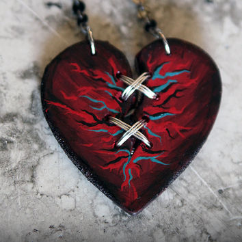 Infected Ex Marks The Heart, Laser Cut, Statement Necklace, Mended Heart, Distressed, Rocker, Zombie, Heart Necklace