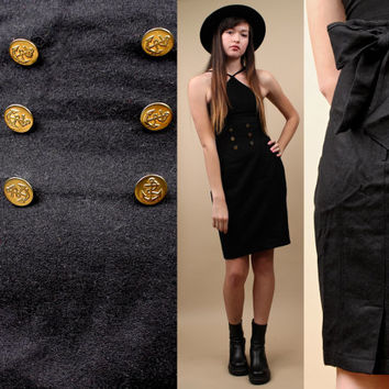 70s 80s Vtg Black WOOL Military PENCiL Skirt / Super High Waist ANCHOR Button / Back Bow Detail PiN Up Rockabilly Small - Med