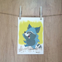 Tanuki original gouache painting, nursery animal art, gouache original, Japanese raccoon dog