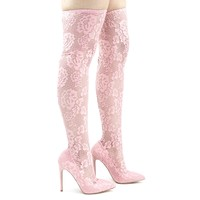 Xaya15 Pink By Liliana, Thigh High Soft Legging, Sock Floral Lace Covered Pump On High Heel