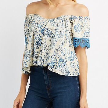 Crochet-Trim Off-The-Shoulder Sweetheart Top