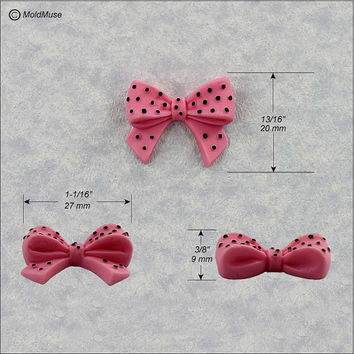 Bow Silicone Mold with Polka Dots Fondant, Candy, Resin, Polymer Clay (360)