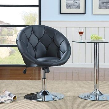 Contemporary Round Tufted Black Swivel Accent Chair