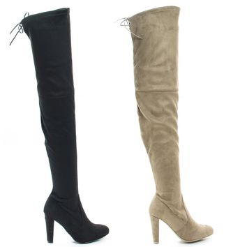 Amaya12 By Wild Diva, OTK Over Knee Dress Boots w Laced Back, Block Heel & Slouchy Shaft