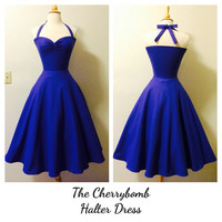 Rockabilly PERIWINKLE Purple Rock n Roll Halter Dress, 1950s Style Pin Up Bridesmaid Wedding Party Dress