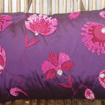 purple sequenced floral cushion in size 12inchesx18inches