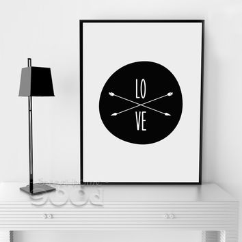 Love And Arrow Canvas Art Print, Wall Pictures Home Decoration Print On Canvas, Painting Poster Frame not include FA155