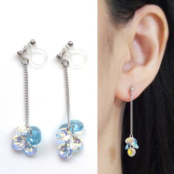 Light blue Aurora Borealis Swarovski Crystal Invisible Clip on Earrings, Bridal Aquamarine Swarovski Clip on Earrings Non Pierced Earrings