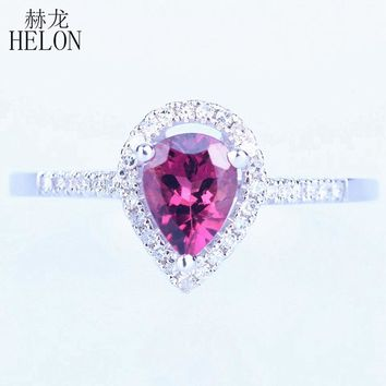 HELON Solid 10K White Gold 5x7mm Pear Genuine Tourmaline Natural Diamonds Engagement Wedding Women's Gemstones Fine Jewelry Ring