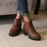 Round Toe High Heels Ankle Boots Platform Chunky Heels 8709