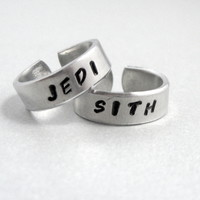 Star Wars JEDI SITH - Set of TWO Friendship Rings- Hand Stamped and Hammered Aluminum Ring - Customizable with Names