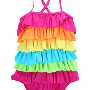 DCCKHG7 hot Kids Girls Rainbow Bikini Girls Summer Beach Swimwear Layered Swimming Bathing Suit Children Girls Swimsuit