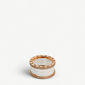 BVLGARI B.zero1 four-band 18kt pink-gold white ceramic and diamond ring