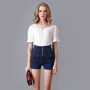 Fashion High Waist Denim Shorts Women Straight Jeans Shorts Vintage Button Fly Design Female Cool Skinny Jeans Plus Size 6XL