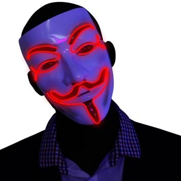 Red V for Vendetta EL Wire LED Mask