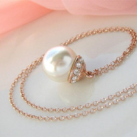 Pearl Wedding Necklace Rose Gold Bridal Necklace Crystal Mabe Glass Pearl Pendant Rose Gold Chain