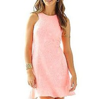 NWT $248 Lilly Pulitzer Liana Word On The Street Jaquard Peachy Pink Dress