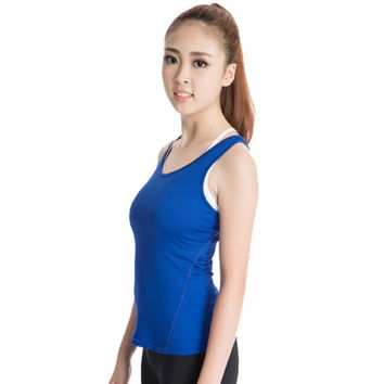 Quick-Drying Women Sports Vest Tights PRO Running Yoga Fitness Vest Shirts Tee