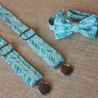 Teal / Turquoise Blue Herringbone Bow Tie and Suspenders set Easter ( Men, boys, baby, toddler, infant Suspender and Bowtie )