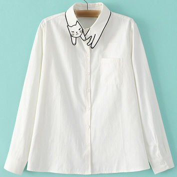 White Lapel Long Sleeve Cat Embroidery Pocket Blouse