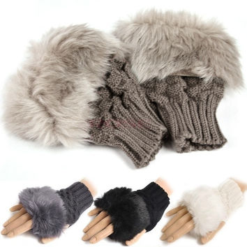 Fashion Women Rabbit Fur Hand Wrist Warmer Soft Winter Fingerless Glove 8226 Apparel & Accessories = 1932762244
