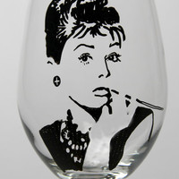 Audrey Hepburn Wine Goblet, painted wine glass, Tiffany