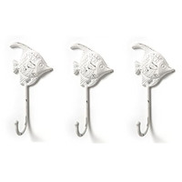 Fish Wall Hooks - Set of 3 - Antique White Hangers for Coats, Aprons, Hats, Towels, Pot Holders, More
