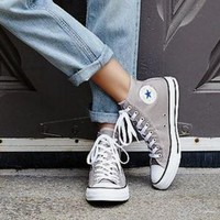 Converse Fashion Canvas Flats Sneakers Sport Shoes gray
