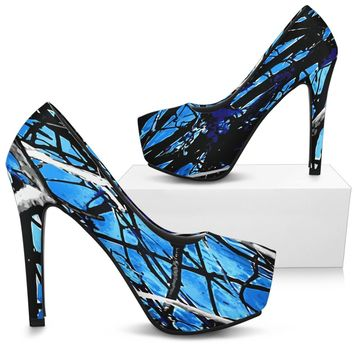 Turquoise Blue Camo High Heels