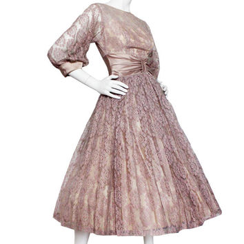 Vintage 1950s Pink Full Skirt Dress, Ball Gown | Women's Size XS | Muted Rose Pink Lace 50s Feminine, Mother of the Bride, Wedding Cocktail