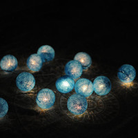 20 x Ocean blue cotton ball Bali lantern string light patio outdoor decoration deco hanging lamp wedding home